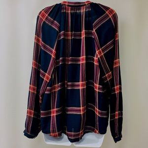 Lucky Brand Tops - Lucky Brand Navy Blue Plaid Peasant Blouse Size L